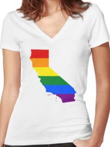 LGBT Flag Map of California  Women's Fitted V-Neck T-Shirt