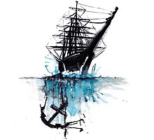 Rigged Sail Ship Watercolor by MyrianeArt