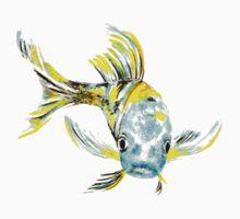Koi Butterfly Fish Aqua & Yellow One Piece - Short Sleeve