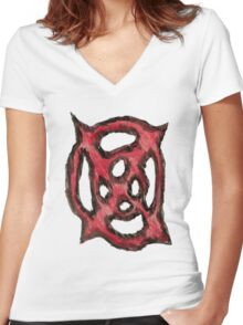 Bloody Heart Star Women's Fitted V-Neck T-Shirt