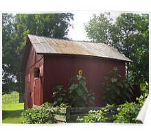 Red Hoosier Barn in Summer Poster