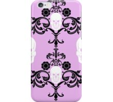 Skull damask in pink  iPhone Case/Skin