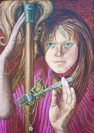 Frog and the Fork, oil on canvasboard, 2005 by fiona vermeeren