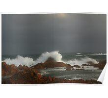 Stormy seas at West Point ,  West Coast Tasmania , Australia Poster