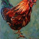 Brown rooster Isle of Aran. 2012Ⓒ Oil on canvas 51x41cm  by Elizabeth Moore Golding