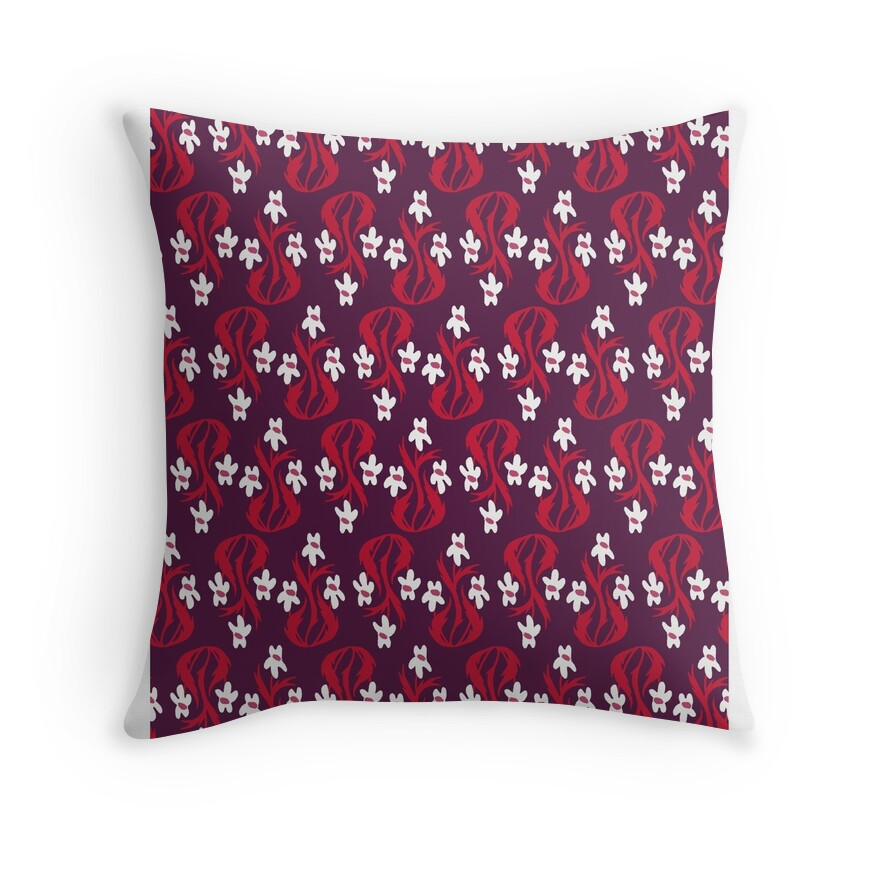 small flowers in maroon throw pillows by reika hunt