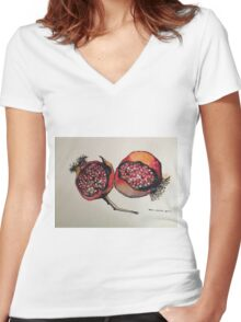 Pomegranate. Pen and wash 2012 Women's Fitted V-Neck T-Shirt