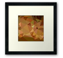 Cocoa Brown Abstract Low Polygon Background Framed Print