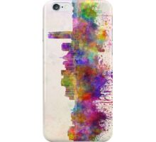Oklahoma City skyline in watercolor background iPhone Case/Skin