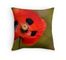 Red Poppy Papaver  Throw Pillow