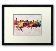 Jakarta skyline in watercolor background Framed Print