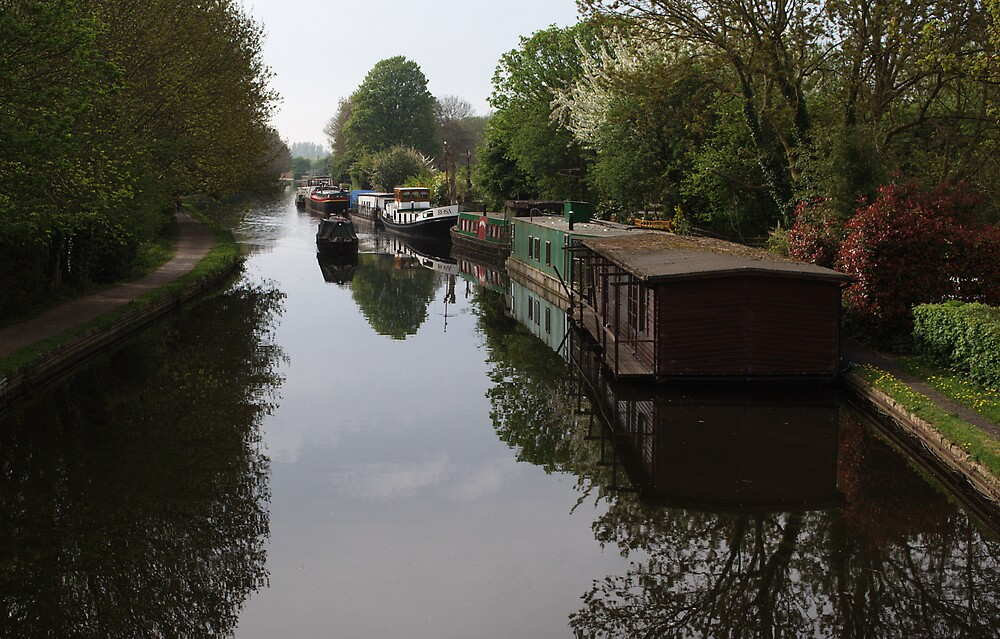 Houseboats on the Grand Union Canal at Cowley West London by Chris Day