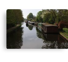 Houseboats on the Grand Union Canal at Cowley West London Canvas Print