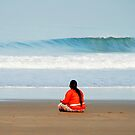 Meditating on the beach in Bali by Michael Brewer