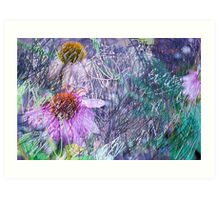 Cone Flowers with Bug  Art Print