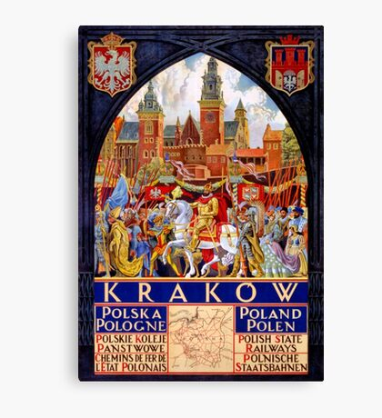 Poland Krakow Vintage Travel Poster Restored Canvas Print
