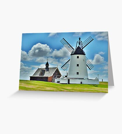 Lytham Windmill and Lifeboat Station . Greeting Card