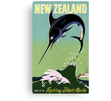 New Zealand Vintage Travel Poster Restored Canvas Print