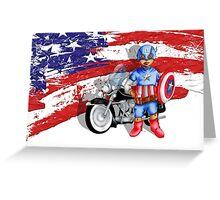 Cute Big Eye Boy with american superheroes gear Greeting Card