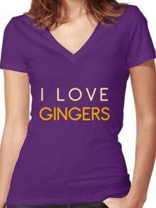 I LOVE GINGERS Women's Fitted V-Neck T-Shirt