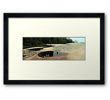 Gracie on the rock - Lake Superior Framed Print
