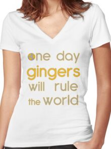One day gingers will rule Women's Fitted V-Neck T-Shirt