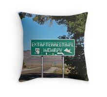 Extraterrestrial Highway Sign Throw Pillow