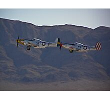 Pair of P-51 Mustangs take off Photographic Print