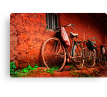 resting bicycles Canvas Print