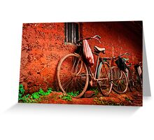 resting bicycles Greeting Card