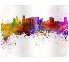 Portland skyline in watercolor background Poster