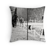 Dressage In The Rain Throw Pillow