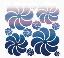 Hawaiian Inspired Mosaic Flower Waterfall Purple Navy Blue Ombre Back to School Kids Clothes