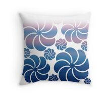 Hawaiian Inspired Mosaic Flower Waterfall Purple Navy Blue Ombre Throw Pillow