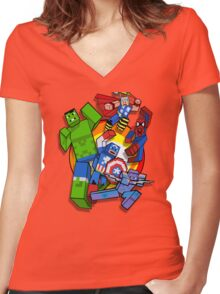 Cute Cube superheroes Group Women's Fitted V-Neck T-Shirt