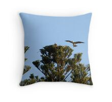Clever Nesting Osprey Throw Pillow