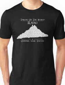 Throat of the World Radio - White on Black Unisex T-Shirt