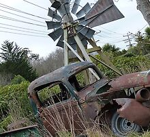 Waiting for the windmill to turn! Old car & Windmill - Invercargill - New Zealand by AndreaEL