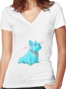 Enzo the French Bulldog! Women's Fitted V-Neck T-Shirt