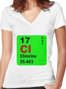 Chorine Periodic Table of Elements Women's Fitted V-Neck T-Shirt