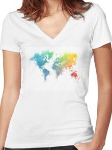 World Map splash 1 Women's Fitted V-Neck T-Shirt