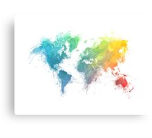 World Map splash 1 Canvas Print