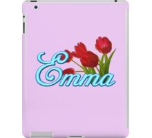 Emma With Red Tulips and Neon Blue Script iPad Case/Skin