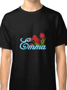 Emma With Red Tulips and Neon Blue Script Classic T-Shirt