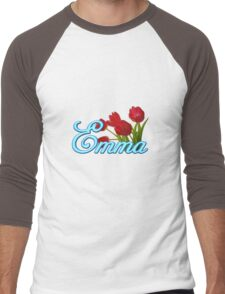Emma With Red Tulips and Neon Blue Script Men's Baseball ¾ T-Shirt