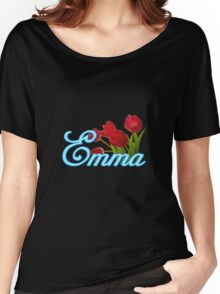 Emma With Red Tulips and Neon Blue Script Women's Relaxed Fit T-Shirt