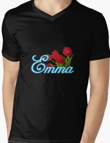 Emma With Red Tulips and Neon Blue Script T-Shirt