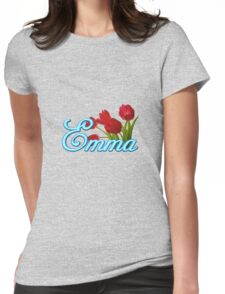 Emma With Red Tulips and Neon Blue Script Womens Fitted T-Shirt