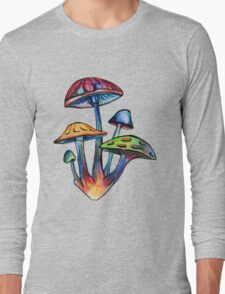 Cluster of Colored Shrooms Long Sleeve T-Shirt