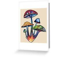 Cluster of Colored Shrooms Greeting Card